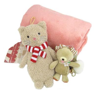 プレゼント|贈り物 キャットアイピロー・くまチャームとブランケットのセット